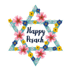 Pesach Passover greeting card with jewish star and flowers, vector illustration background
