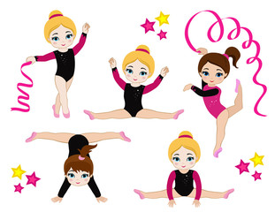 Gymnastics cute girls set. Vector illustration.