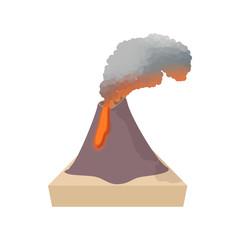 Volcano erupting icon, cartoon style