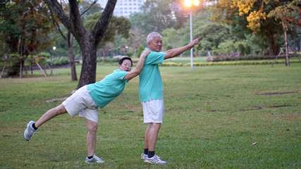 Asian senior couple happy and enjoy life style exercising in the park