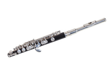 classical wind musical instrument Flute-Piccolo isolated on white background