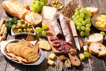 assorted cheese, salami and bread