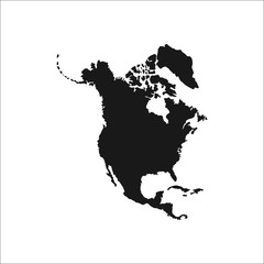Detailed north america continent simple icon on   background