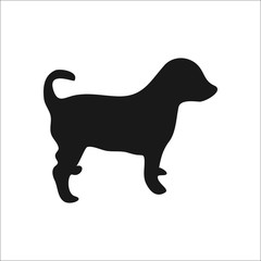 Dog puppy silhouette simple icon on round  background