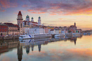 Passau. Passau skyline during sunset, Bavaria, Germany. Wall mural