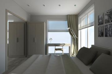 Bedroom In The Grey Tones  Interior Project