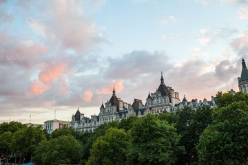 30. 07. 2015, LONDON , UK, London at dawn. View from Golden Jubilee bridge