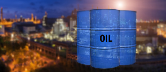 Oil tank on refinery background.