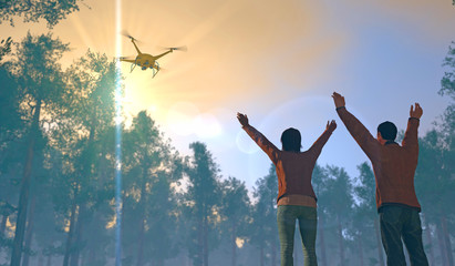 3D render of two figures in a forest setting waving to a UAV drone. Fictitious UAV is a unique design. Depicting drone in search and rescue operation; lens flare, depth-of-field, motion blur.