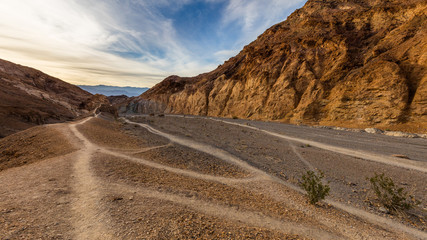 Hiking trail through the narrows at Mosaic Canyon. Landscape of  Mosaic Canyon, Death Valley National Park, California