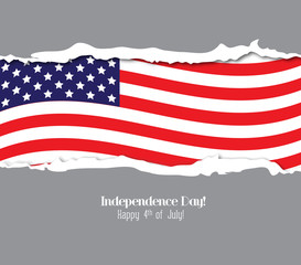 ripped paper USA flag. Independence Day
