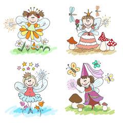 Little fairy children drawings