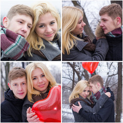 young couple in love in the winter