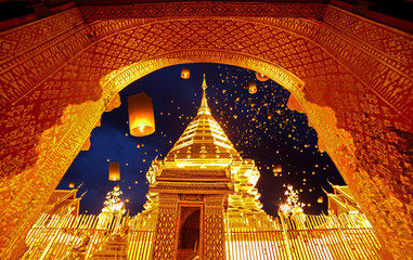 Printed roller blinds Temple Night view Doi Suthep Chiang Mai, Thailand