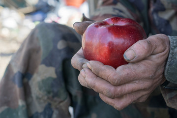 dirty hands and fresh apple