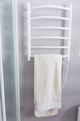 Towel hanging on a heated towel rack