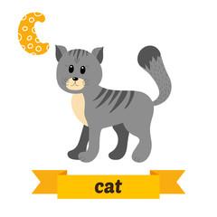 Cat. C letter. Cute children animal alphabet in vector. Funny ca