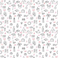 Cute hand drawn summer theme seamless pattern. Beach theme backg