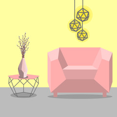 Vector illustration with sofa, luminaire and table