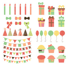 Set of birthday party design elements. Colorful balloons, flags,