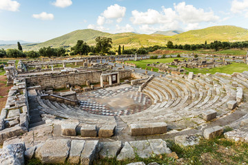 ruins of theater in Ancient Messinia, Greece