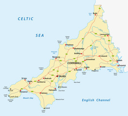 vector road map of cornwall, united kingdom