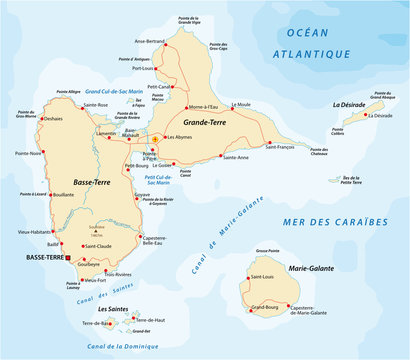 Road map of Guadeloupe