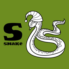 cartoon doodle snake with letter s. part of animal alphabet.