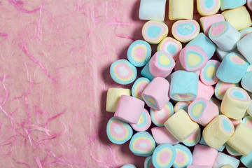 Candy sweet marshmallows on background