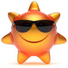 Smiley sun star face sunglasses summer smile cheerful cartoon ball emoticon happy sunny heat orange yellow person icon. Smiling laughing character holiday chilling sunbathing sunbeam avatar. 3D render