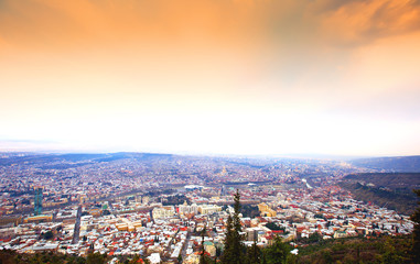 Beautiful panoramic view of Tbilisi at sunset