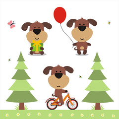 Cartoon puppy set. Funny puppy with gift, balloon and on bicycle. Collection isolated puppy on white bacground.