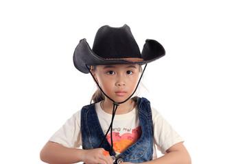 Beautiful asian girl in a cowboy hat