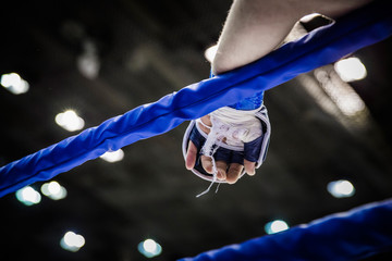 Papiers peints Combat hand of fighter on ropes of ring during competition in mixed martial arts