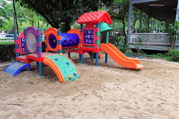 Colorful children play park equipment