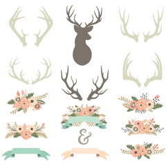 Vintage Floral Antlers Set