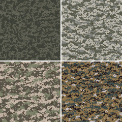 Set of digital seamless camouflage pattern.