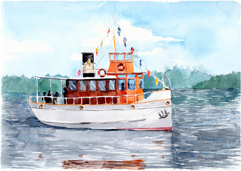 Pleasure ship (steamer) on a lake in Finland. Watercolor painting.