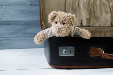 Teddy bear in an old leather suitcase