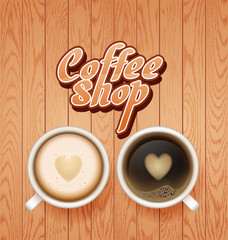 coffee break. Hot Coffee cup on white wooden vector background. coffee and latte