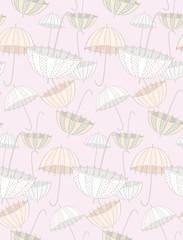 Pink gentle umbrellas. Vector pattern.