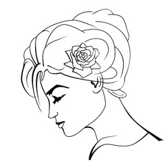 Beautiful woman with a rose. Vector illustration.