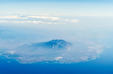 Aerial view of baluran national park in java indonesia