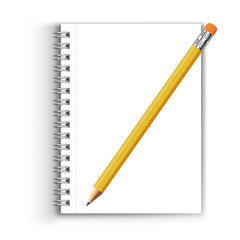 realistic pencil and a notebook on a white background