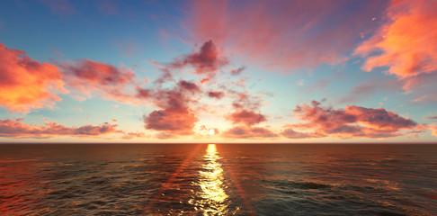 Sunset with beautiful blue sky. 3d