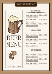menu for a pub with a price list and a wooden glass beer