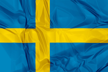 Waving flag of Sweden, blue and yellow colors. 3d background.