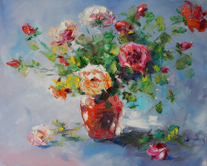 Art Oil Painting Picture Still Life with Roses