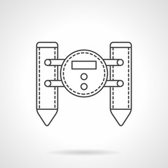 Floating robot flat line vector icon