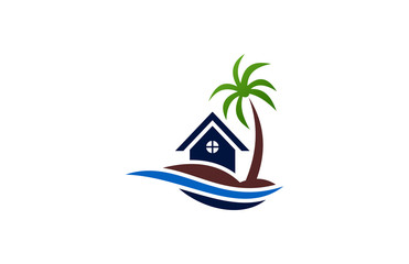 palm tree house wave logo